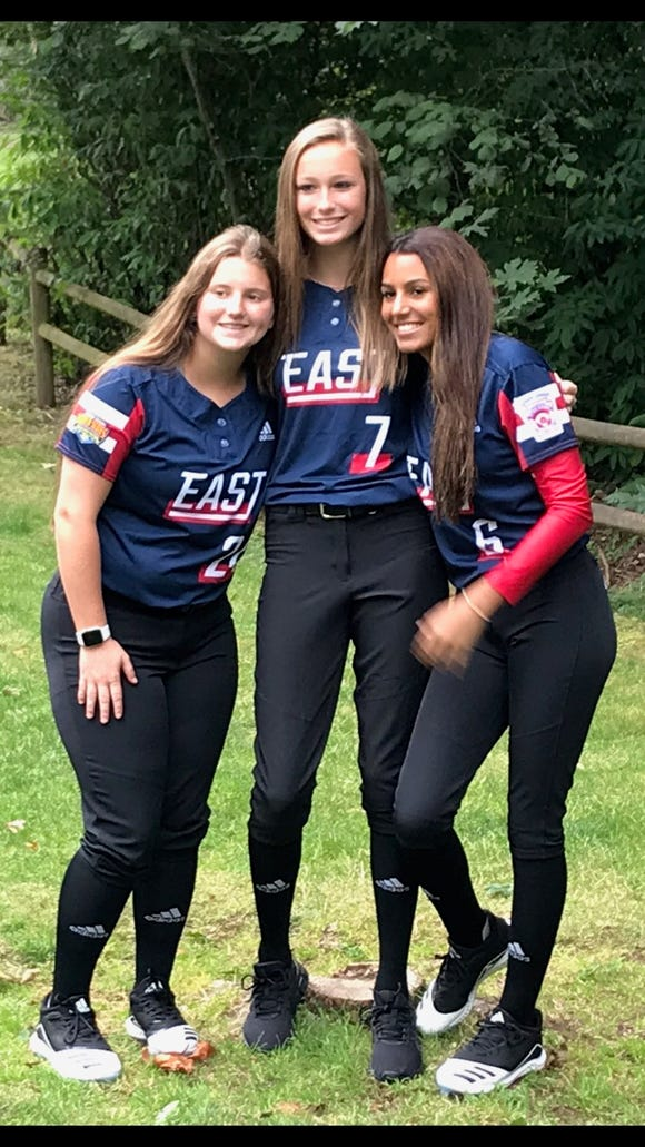 North Rockland softball teammates Kristen Luzon (left), Jenna Siuta (center) and Roz Henriquez (right) are all members of the Haverstraw/Nanuet team competing in the Junior League Softball World Series.