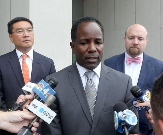 Andre Wallace speaks outside Westchester County Courthouse in White Plains after State Supreme Court Justice Lawrence Ecker denied the request for an injunction requested by Richard Thomas that would have prohibited Wallace from continuing to act in the capacity of acting mayor in the city of Mount Vernon.