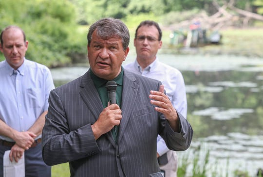 Westchester County Executive George Latimer kicks off the Tibbetts Brook Park Lake revitalization project on Wednesday, July 31, 2019 in Yonkers.   The lake is being cleaned for recreational use and community access.
