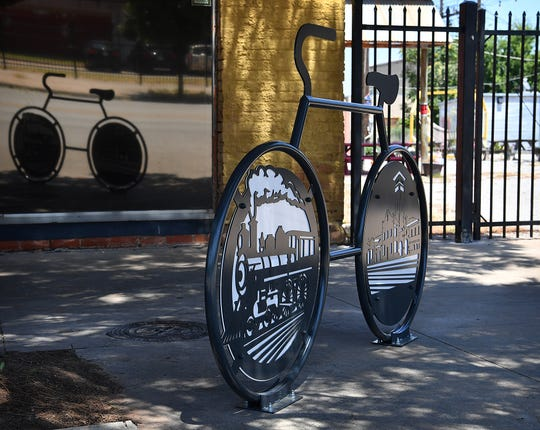 A new sculptural bike rack has been installed downtown honoring the railroad and its place in the history of Wichita Falls. The rack is near the corner of 7th Street and Ohio Avenue.