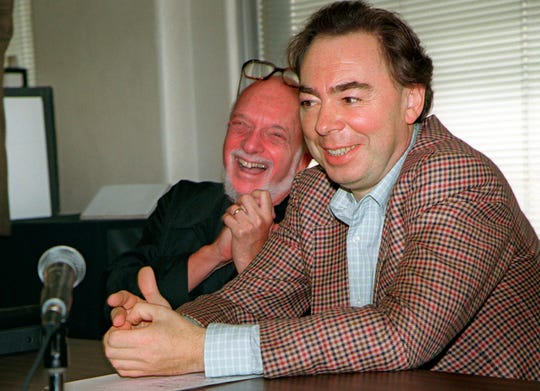 "This Oct. 21, 1996 file photo shows Hal Prince with Andrew Lloyd Webber during a news conference in New York announcing Webber's new musical, ""Whistle Down The Wind,"" in October 1996."