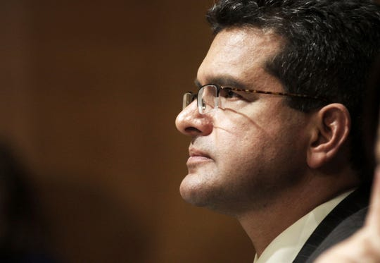 In this Sept. 29, 2015 file photo, Resident Commissioner Pedro Pierluisi, D-P.R., testifies before the Senate Finance Committee hearing on Puerto Rico's current economic conditions and long-term fiscal health, in Washington.
