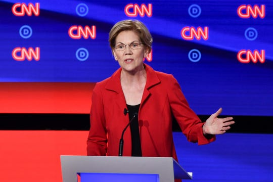 Democratic presidential hopeful US Senator from Massachusetts Elizabeth Warren participates in the first round of the second Democratic primary debate of the 2020 presidential campaign season hosted by CNN at the Fox Theatre in Detroit, Michigan on July 30, 2019.