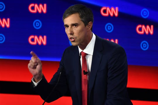 Democratic presidential hopeful former US Representative for Texas' 16th congressional district Beto O'Rourke delivers his closing statement during the first round of the second Democratic primary debate of the 2020 presidential campaign season hosted by CNN at the Fox Theatre in Detroit, Michigan on July 30, 2019. (Photo by Brendan Smialowski / AFP)BRENDAN SMIALOWSKI/AFP/Getty Images ORG XMIT: Second ro ORIG FILE ID: AFP_1J802H