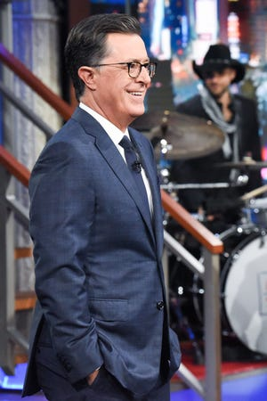 """Late Show"" host Stephen Colbert photographed during his program on July 30, 2019."