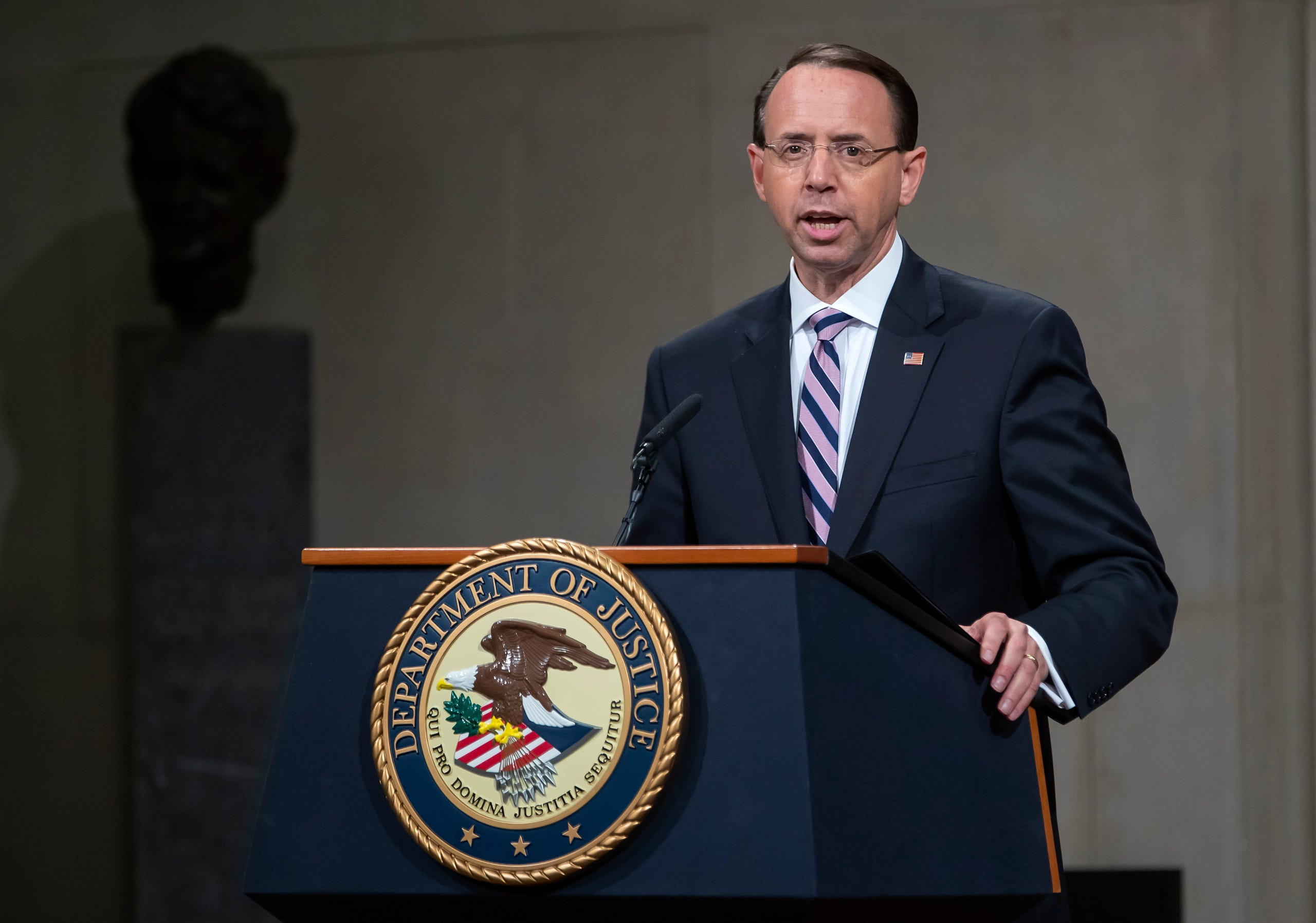 Deputy Attorney General Rod Rosenstein speaks during his 'Farewell Ceremony' at the Department Justice in Washington, DC, May 9. 2019. The Deputy Attorney Generalsubmitted his letter of resignation on April 29, effective May 11. He stepped down following the end of the Mueller investigation, during which he was often the target of President Donald Trump's criticism.