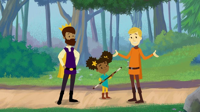 "This image released by Hulu shows characters, from left, Prince Andrew, voiced by Wilson Cruz, Nia, voiced by Storm Reid, and Sir Cedric, voiced by T.R. Knight in a scene from the animated children's series ""The Bravest Knight."""