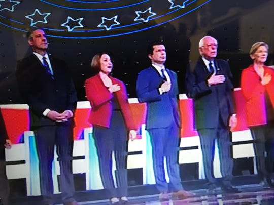 Congressman Tim Ryan was the only candidate not to place his hand over his heart during the singing of the National Anthem during the Democratic debate in Detroit.