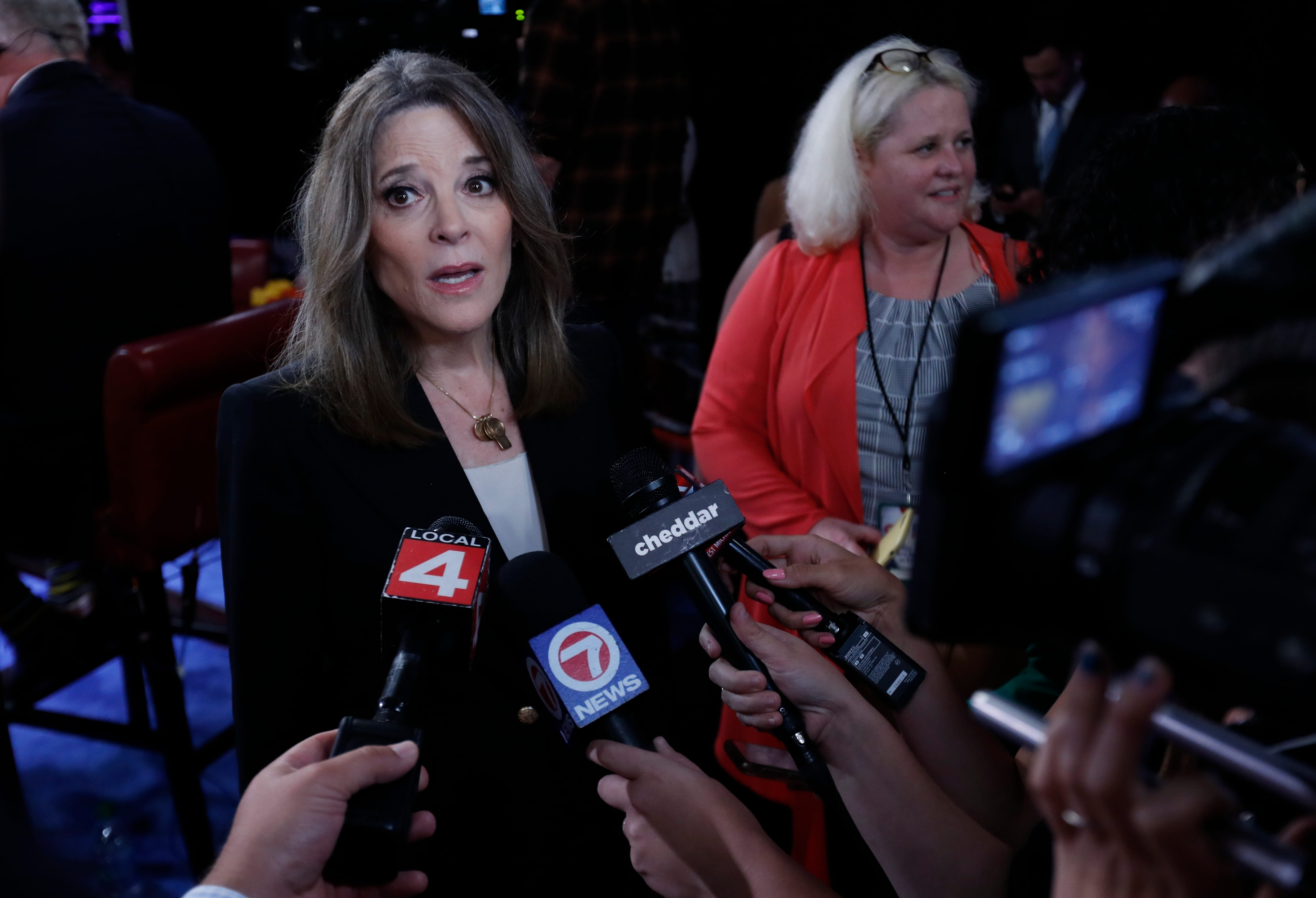Marianne Williamson isn t on the debate stage but reminded people she s still running