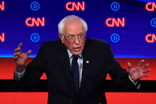 Bernie Sanders at the Democratic debate in Detroit, Michigan, on July 30, 2019.