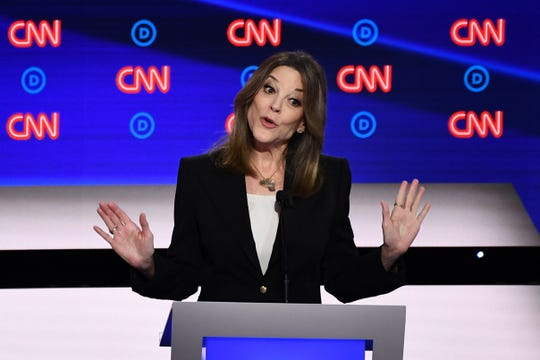 Marianne Williamson at the Democratic presidential debate in Detroit on July 30, 2019.