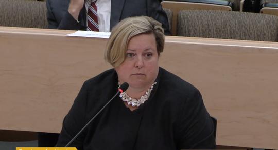 Erin Deveney addresses Massachusetts lawmakers Tuesday.