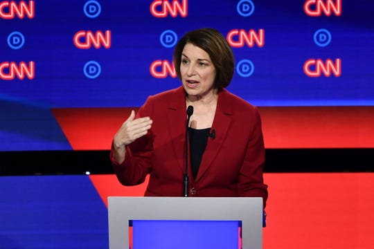 Democratic presidential hopeful US Senator from Minnesota Amy Klobuchar participates in the first round of the second Democratic primary debate.