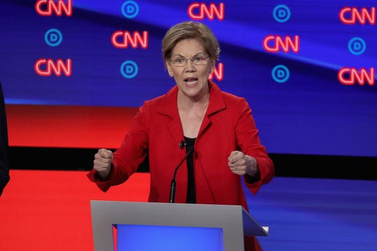 Democratic presidential candidate Sen. Elizabeth Warren of Massachusetts speaks during the Democratic Presidential Debate at the Fox Theatre July 30, 2019 in Detroit. Twenty Democratic presidential candidates were split into two groups of 10 to take part in the debate sponsored by CNN held over two nights.