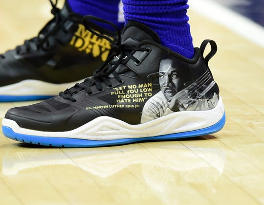 The Pistons' Langston Galloway wore a custom pair of shoes for Martin Luther King Jr. Day.