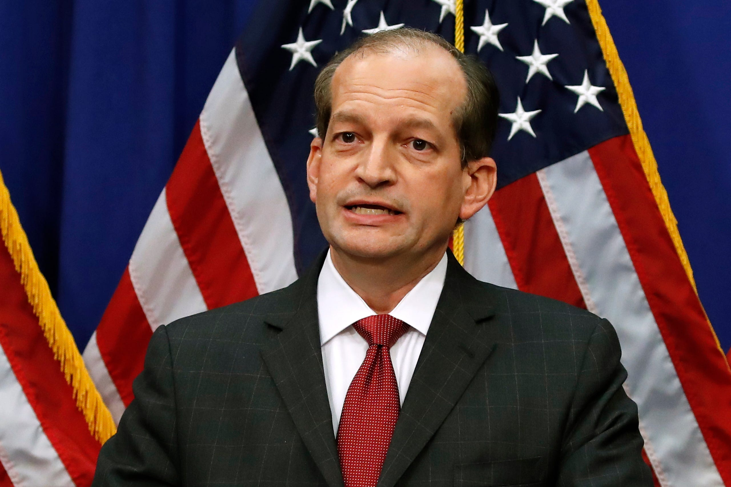 Labor Secretary Alex Acosta speaks at the Department of Labor in Washington on July 10, 2019. Acosta resigned on July 12, 2019amid the fallout over a plea deal he made with wealthy financier Jeffrey Epstein, a sex offender charged with human trafficking girls as young as 14.