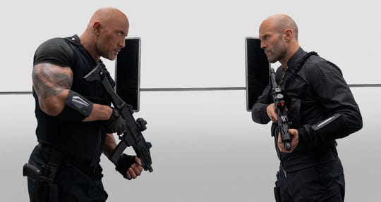 """Dwayne Johnson (left) and Jason Statham star as best frenemies in """"Fast & Furious Presents: Hobbs & Shaw."""""""