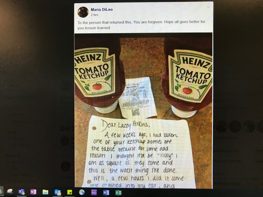 A ketchup thief offers an apology and two new bottles of Heinz.