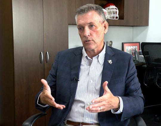 Rutgers University Athletic Director Pat Hobbs is interviewed in his in Piscataway office on Tuesday, July 30, 2019, about the naming deal for Rutgers Stadium with SHI.  i