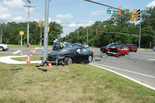 A head-on motor vehicle crash at the intersection of Routes 539 and 70, sent two people to the hospital on Wednesday morning.