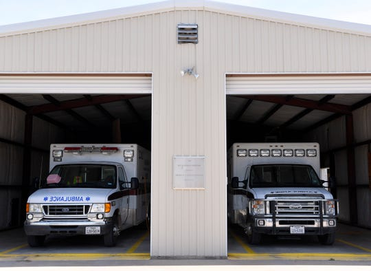 Ambulances wait Thursday in a garage at Hamlin Memorial Hospital.