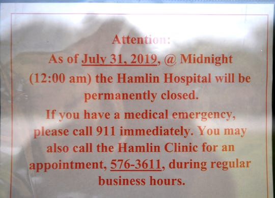 A sign posted at Hamlin Memorial Hospital.