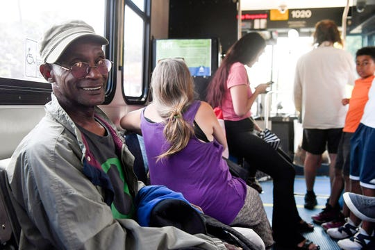 Arthur Best rides an ART bus on Patton Avenue to his job July 19, 2019.