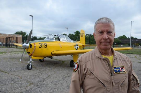 Tom Hibiske flew the lead Thursday to honor senior veterans.