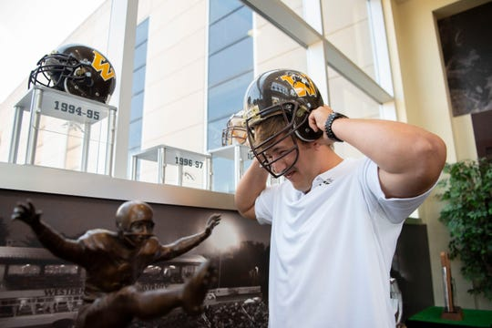 Western Michigan University lineman Luke Juriga hangs out during Football Media Day on Thursday, Aug. 1, 2019 at Waldo Stadium in Kalamazoo, Mich.