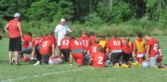 Chad Jensen addresses Buckeye Central at the conclusion of the first practice of the season.