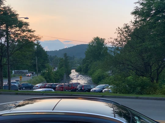 The view of the Green Mountains and Lamoille River from just outside Positive Pie in Hardwick, VT.