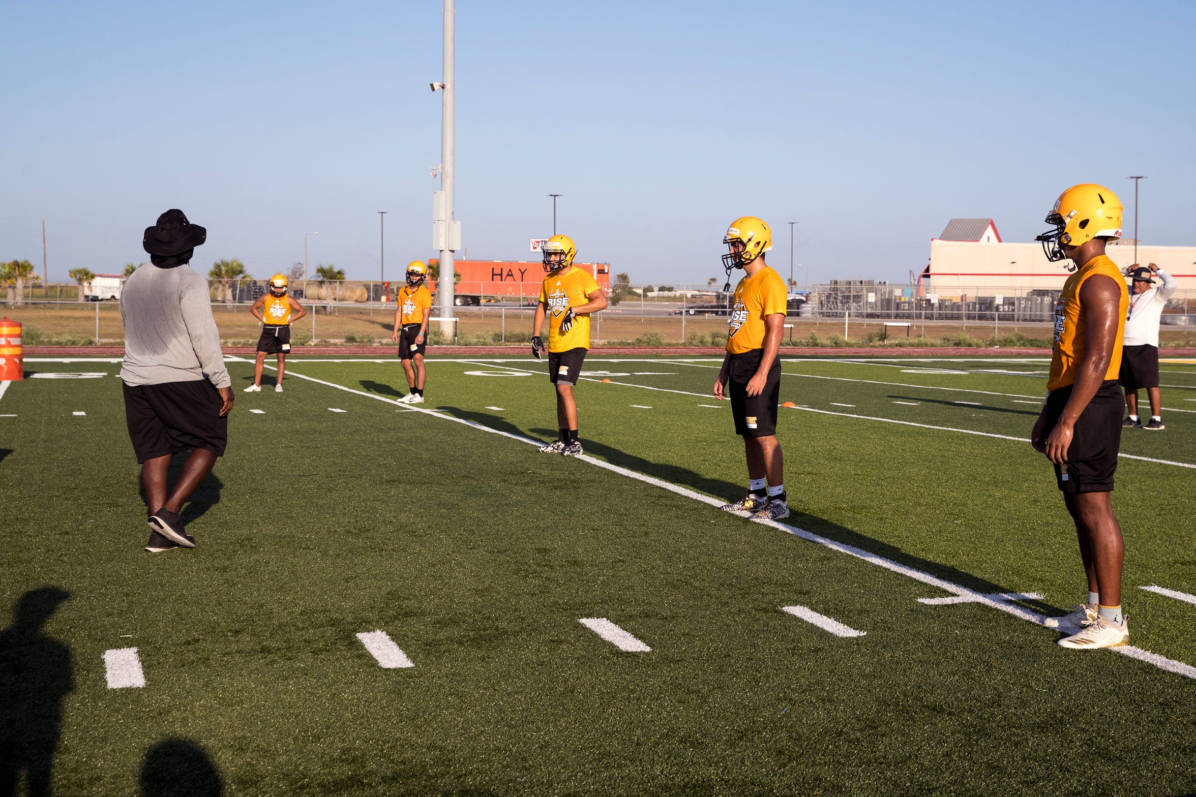 John Paul II Centurion Football players participate in the team's first practice of the season on Monday, August 1, 2019.