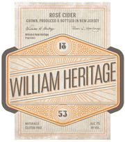 A label for William Heritage Rose Cider.