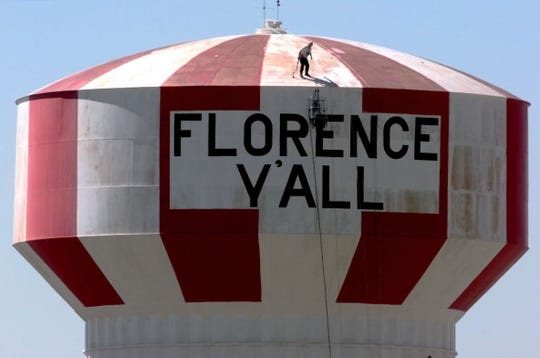 "The landmark will be repainted with the ""Florence Y'all"" slogan."