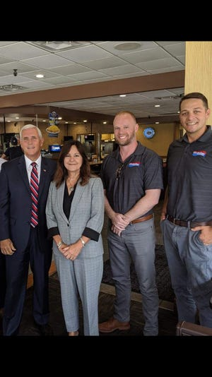 Vice President Mike Pence stopped at a Skyline restaurant in Fort Wright ahead of Trump's Thursday rally at U.S. Bank Arena.