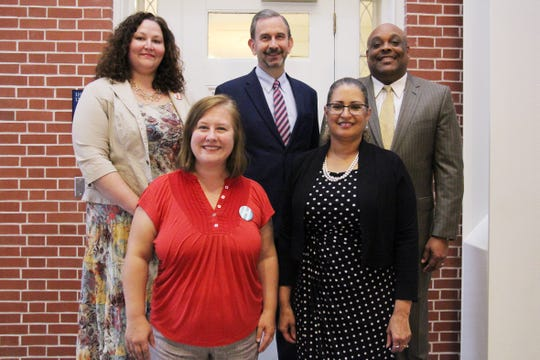 Pictured from the left are New Jersey Council for the Humanities staff: Angela Speakman, director of Development and Communications; and Gigi Naglak, director of Grants & Programs, and Thomas Edison State University staff: John Thurber, vice president for Public Affairs; Ana Berdecia, director, Center for the Positive Development of Urban Children; and Joseph Youngblood II, vice provost and dean, John S. Watson School of Public Policy.