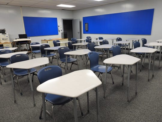 New desk and chairs are part of renovations at the Coshocton County Career Center. The desks allow for more room for Chromebooks and can be easily put together for group activities.