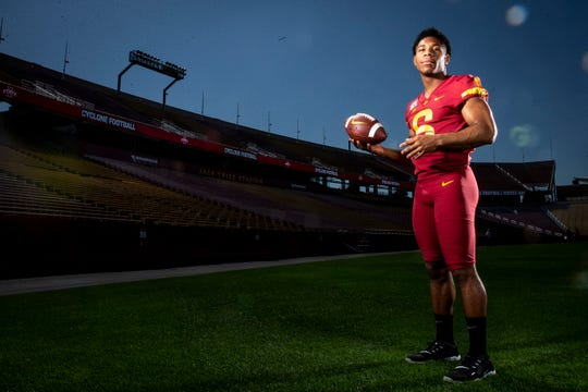 Redshirt freshman quarterback Re-al Mitchell poses for a photo at Iowa State football's media day on Thursday, Aug. 1, 2019 in Ames.