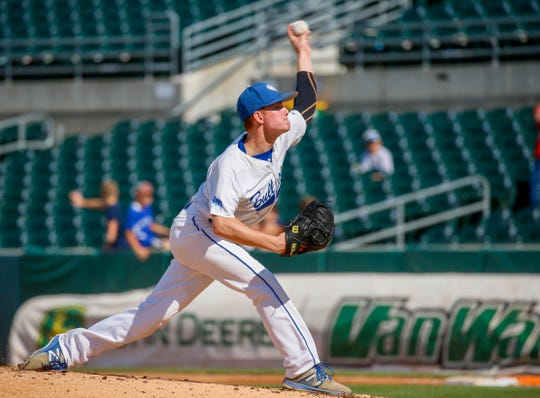 Zach Pleggenkuhle of Van Meter pitches in the 2A state semifinal game Thursday, Aug. 1, 2019.