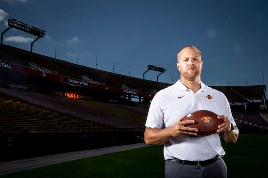 Offensive coordinator Tom Manning poses for a photo at Iowa State football's media day on Thursday, Aug. 1, 2019 in Ames.