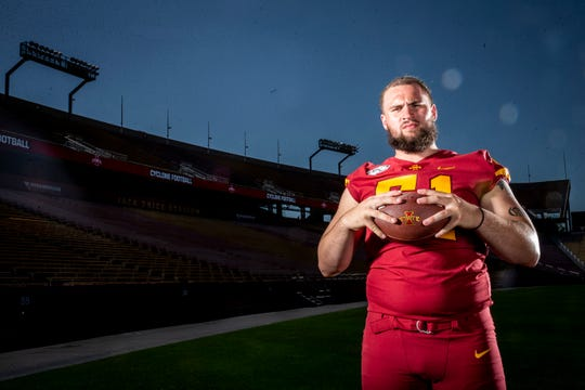 Redshirt senior offensive lineman Julian Good-Jones poses for a photo at Iowa State football's media day on Thursday, Aug. 1, 2019 in Ames.