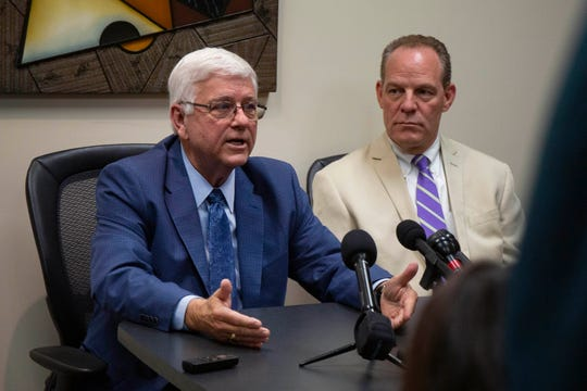 Former Iowa Dept. of Human Services director Jerry Foxhoven announces he's filing a retaliation claim at a press conference at Duff Law Firm, P.L.C in West Des Moines on August 1, 2019.