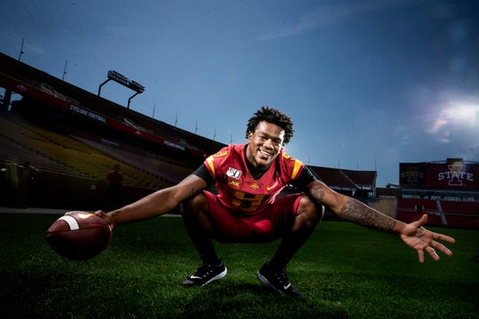 Redshirt freshman Joe Scates poses for a photo at Iowa State football's media day on Thursday, Aug. 1, 2019 in Ames.