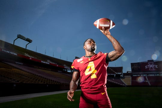 Redshirt sophomore Johnnie Lang poses for a photo at Iowa State football's media day on Thursday, Aug. 1, 2019 in Ames.