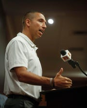 Iowa State head football coach Matt Campbell addresses members of the press during Iowa State football's media day on Thursday, Aug. 1, 2019, at Jack Trice Stadium in Ames.
