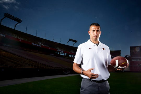 Iowa State coach Matt Campbell poses for a photo at the school's football media day on Aug, 1, 2019.