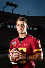 Sophomore quarterback Brock Purdy poses for a photo at Iowa State football's media day on Thursday, Aug. 1, 2019 in Ames.