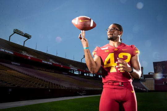 Redshirt senior linebacker Marcel Spears Jr. poses for a photo at Iowa State football's media day on Thursday, Aug. 1, 2019 in Ames.