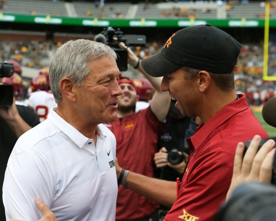 Iowa Hawkeyes head coach Kirk Ferentz and Iowa State Cyclones head coach Matt Campbell each are leading top-25 teams into the 2019 college football season. Iowa is ranked 19th in the USA TODAY Amway Coaches' Poll, with Iowa State coming in at No. 24.