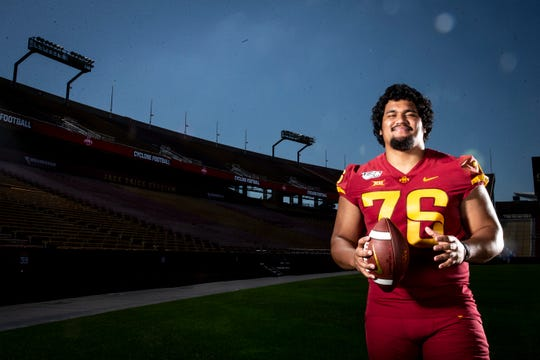 Redshirt senior defensive lineman Ray Lima poses for a photo at Iowa State football's media day on Thursday, Aug. 1, 2019 in Ames.